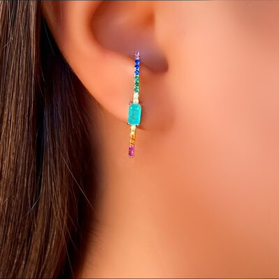 Brinco Ear Hook Prata 925 Pedra Color
