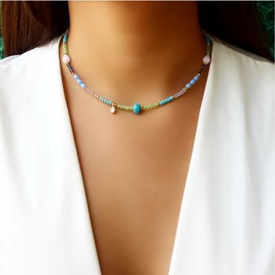 Choker/Gargantilha Cristal Color e Pedra Natural Turquesa