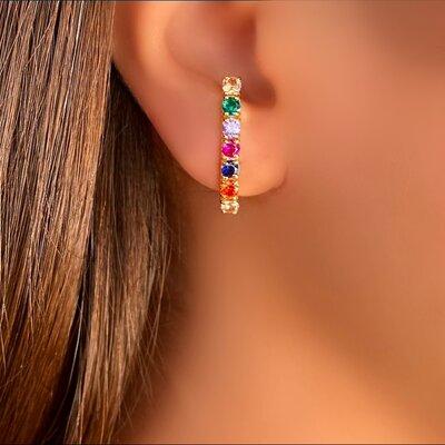 Brinco de Pressão Ear Hook Pedra Color