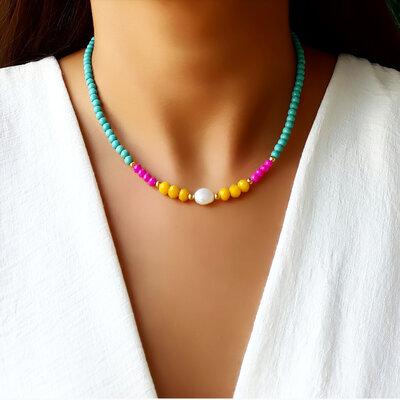 Choker/Gargantilha Pedra Natural Turquesa e Cristal Color