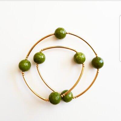 Pulseira de Silicone 2 Voltas com Pedra Natural Verde