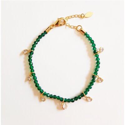 Pulseira Cristal Verde Esmeralda e Zircônia Cristal