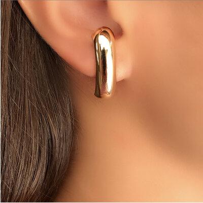 Brinco ear hook no banho ouro 18k