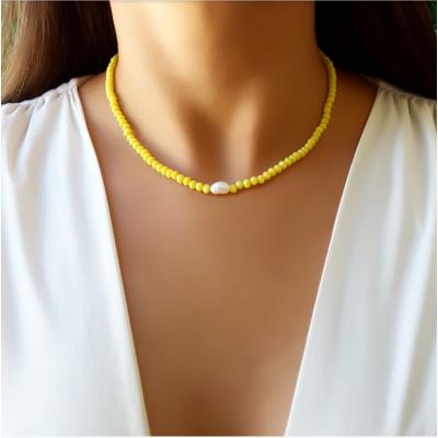 Choker/gargantilha cristal yellow e pérola água doce natural