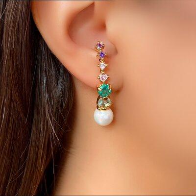 Brinco Ear Hook Pedra Color e Pérola