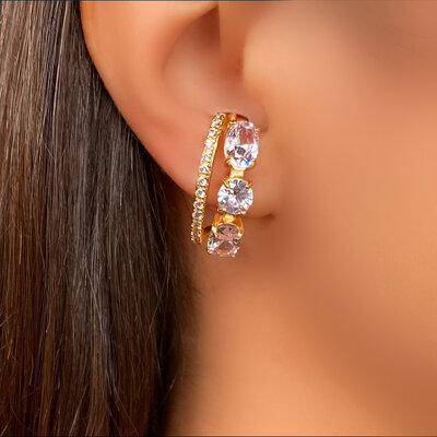 Brinco Ear Hook Cristal