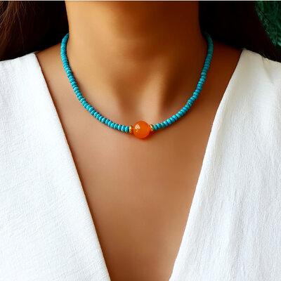 Choker/Gargantilha Pedra Natural Turquesa e Ágata Orange