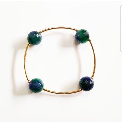 Pulseira de Silicone Pedra Natural Jade Mesclada