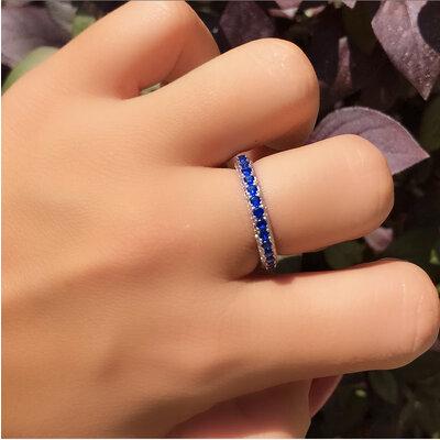 Anel prata 925 cravejado azul safira