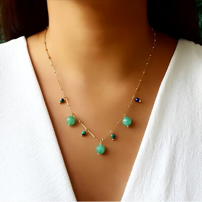 Colar com Pedra Natural Jade e Crisocola