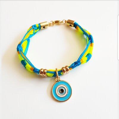 Pulseira Olho Grego Esmataldo Azul com Fecho Ímã