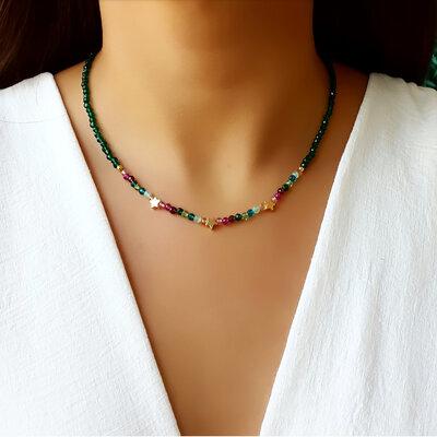 Colar Star Cristal Esmeralda e Cristal Color