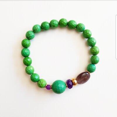 Pulseira de Silicone com Pedra Natural Verde Esmeralda e Ametista