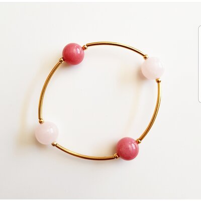 Pulseira de Silicone com Pedra Natural Quartzo Rosa