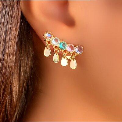 Brinco Ear Cuff Pedra Color Plaquinha