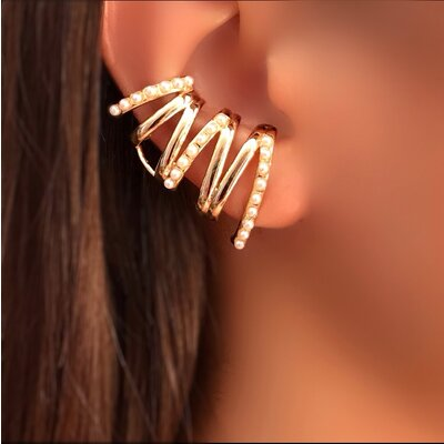 Brinco Ear Cuff Pérola com Piercing Falso