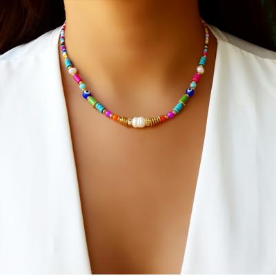 Choker/Gargantilha Pedra Natural e Cristal Color