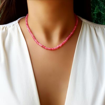 Choker/Gargantilha Pedra Natural Rosa