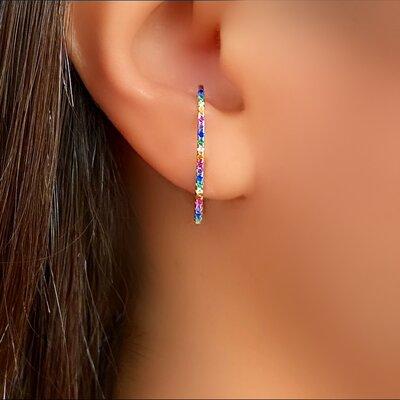 Brinco Ear Hook Prata 925 Cravejado Color