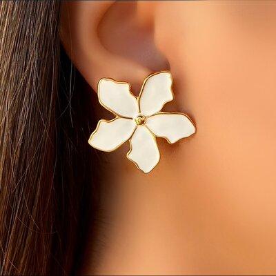 Brinco Flor Esmaltado Branco
