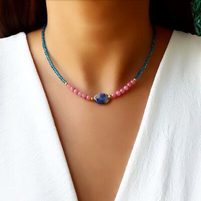 Choker/Gargantilha Cristal Azul e Ágata Rosa