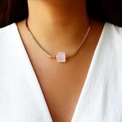 Choker/Gargantilha Pedra Natural Quartzo Rosa