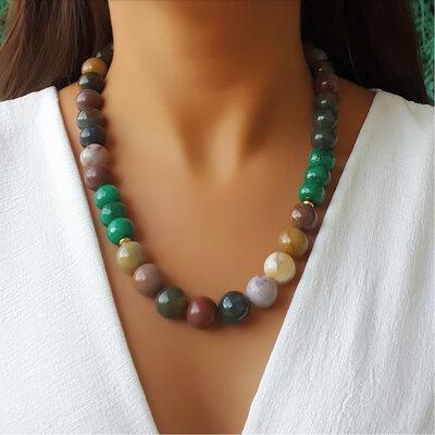 Colar Pedra Natural Jade Indiano