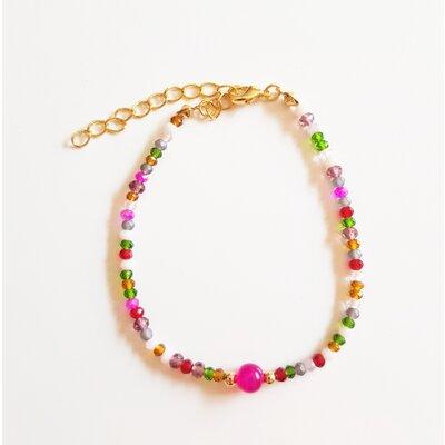 Pulseira Cristal Color e Jade Fúcsia