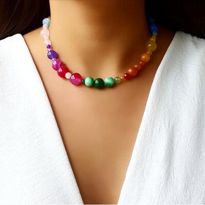Choker/Gargantilha Pedra Natural Jade Color