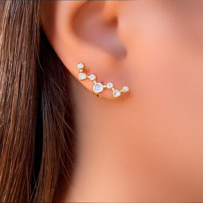 Brinco Ear Cuff com Zircônia Cristal