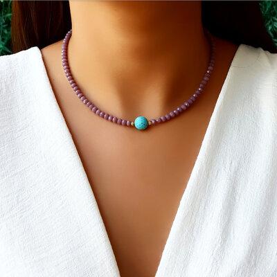 Choker/Gargantilha Cristal Ametista e Pedra Natural Turquesa