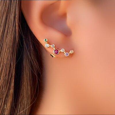 Brinco Ear Cuff com Pedra Color