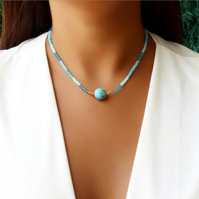 Choker/Gargantilha Pedra Natural Turquesa e Cristal Azul