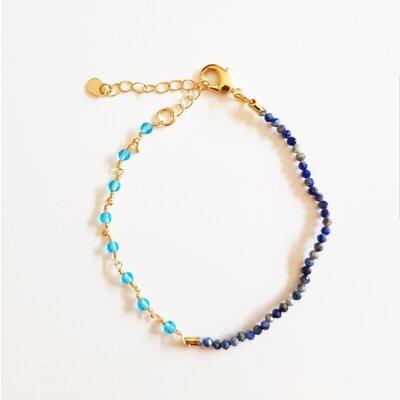 Pulseira Sodalita e Cristal Azul