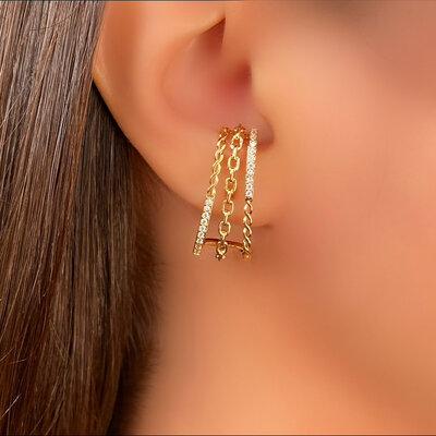 Brinco Ear Hook 3 Fileiras