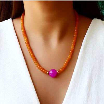 Colar Pedra Natural Jade Orange e Ágata Pink