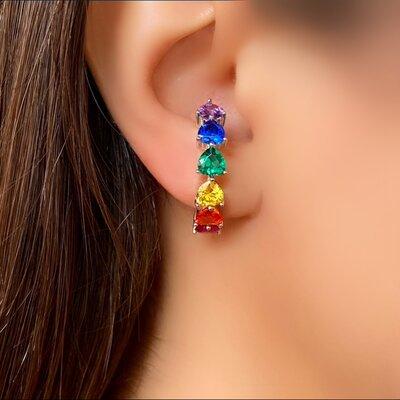 Brinco Ear Hook Prata 925 com Pedra Color