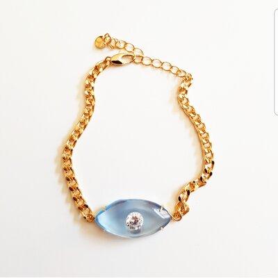 Pulseira Cristal Azul Olho Grego