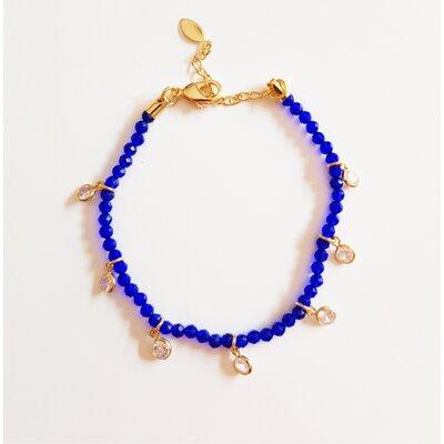 Pulseira Cristal Azul Bic e Zircônia Cristal
