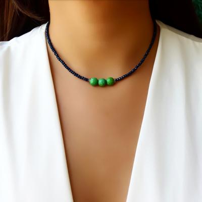 Choker/Gargantilha Cristal Azul Safira e Pedra Natural Jade