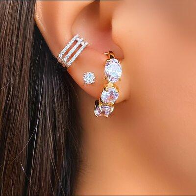 Brinco Ear Hook Zircônia Cristal