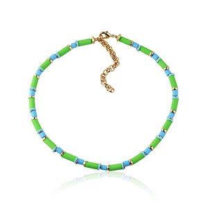 Colar choker Vinil Azul/Verde