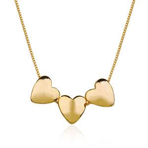 Colar Triplo Coração Dourado