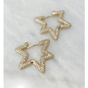 Brinco Argola Star Cravejada Gold