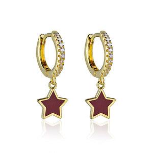 Brinco Argola Stars Red