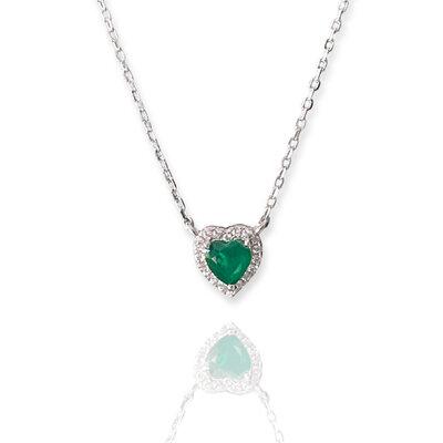 Colar Mini Coração Esmeralda