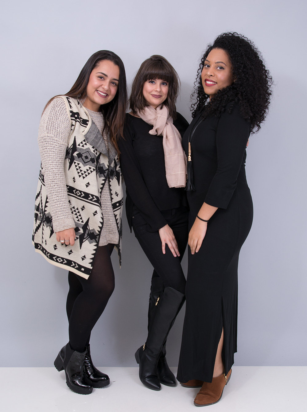 (da esq. para a dir.) Fernanda Palos, Natália Figueiredo e Alyne Souza