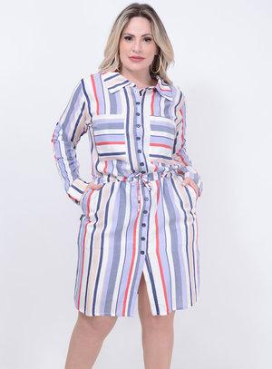 Vestido Listrado Azul Plus Size
