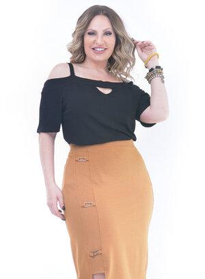 Blusa Plus Size Esperada Preta
