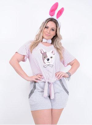T-shirt em Malha com Estampa de Cachorro com Paetês e Amarração na Barra